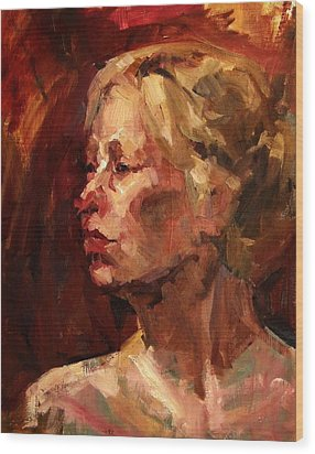 Golden Hair Portrait Of Woman Head In Crimson Yellow Hardworking Fieldworker Mother Whos Thoughtful Wood Print