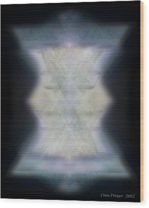 Wood Print featuring the digital art Golden Light Chalices Emerging From Blue Vortex Myst by Christopher Pringer