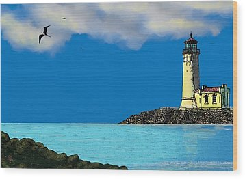 Golden Lighthouse Wood Print by Tony Rodriguez