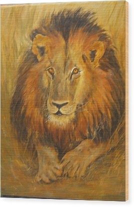 Golden Lion Wood Print