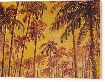 Wood Print featuring the painting Golden Palm Trees by Lou Ann Bagnall