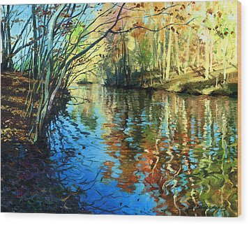 Golden Reflections Wood Print by Sergey Zhiboedov