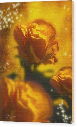 Golden Roses Wood Print by Svetlana Sewell