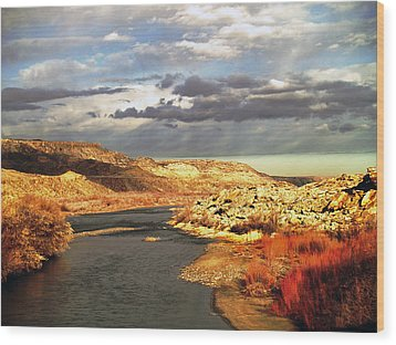 Golden San Juan River Wood Print
