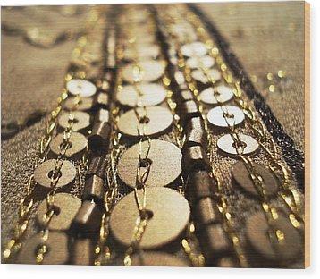 Golden Sequins Highway Wood Print by Sumit Mehndiratta
