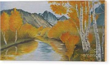 Wood Print featuring the painting Golden Serenity by Jindra Noewi