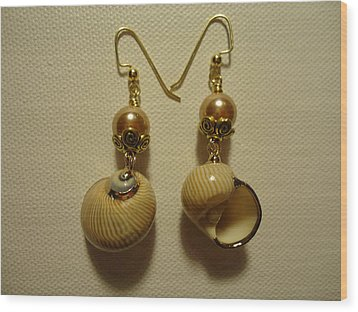 Golden Shell Earrings Wood Print by Jenna Green