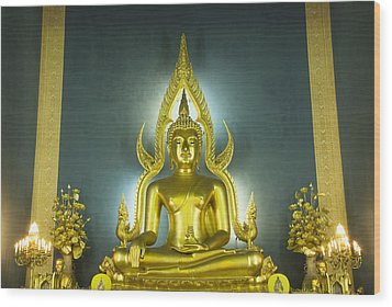 Golden Sitting Buddha Wood Print by Gloria and Richard Maschmeyer