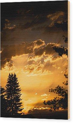 Golden Sky Wood Print by Kevin Bone