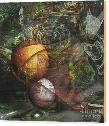 Golden Sphere Wood Print by Monroe Snook