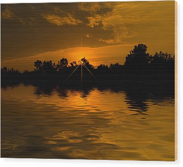 Golden Sunrise Wood Print by Cindy Haggerty