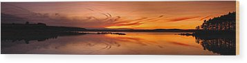 Golden Sunset Panorama On A Quiet Lake Wood Print by Sebastien Coursol