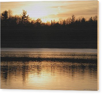 Wood Print featuring the photograph Golden Sunset by Penny Hunt