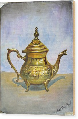 Golden Tea Kettle Wood Print by Sam Shacked