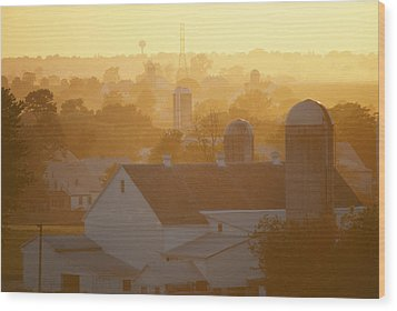 Golden Twilight Upon The Silos And Farm Wood Print by Michael S. Lewis