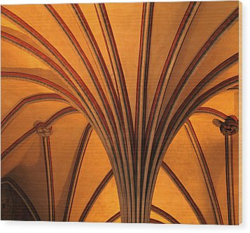 Golden Vaulted Ceiling In Malbork Castle II Wood Print by Greg Matchick