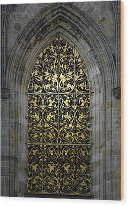 Golden Window - St Vitus Cathedral Prague Wood Print by Christine Till