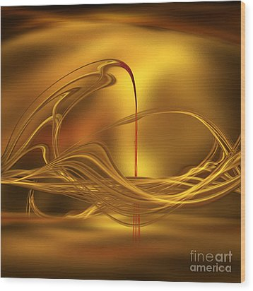 Golden With Red Flow Wood Print