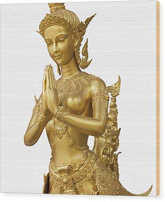 Goldent Ginnaree Statue Art Wood Print by Anek Suwannaphoom