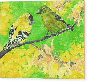 Goldfinches And Forsythia Wood Print by Forrest C Greenslade PhD