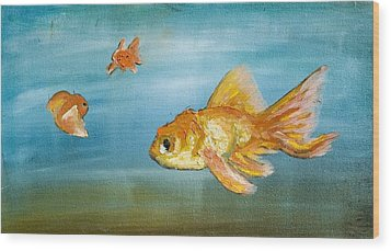 Goldfish Wood Print by Anthony Cavins