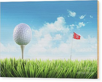 Golf Ball With Tee In The Grass  Wood Print by Sandra Cunningham