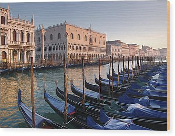 Gondolas Docked Outside Of Piazza San Wood Print by Jim Richardson