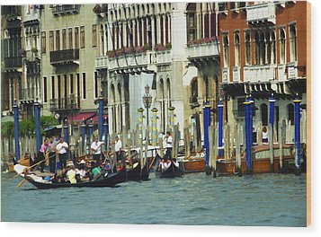 Wood Print featuring the photograph Gondolas In Venice by Emanuel Tanjala