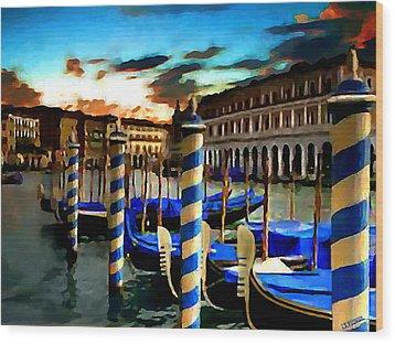 Gondolas Under A Summer Sunset Wood Print by Jann Paxton