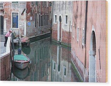 Gondolier Overlooking Rio De S. Anzolo Venice Italy Wood Print by Julia Hiebaum