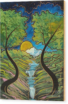 Wood Print featuring the painting Good Morning Earth by Steven Lebron Langston