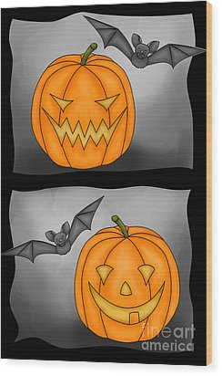 Good Pumpkin - Bad Pumpkin Wood Print by Claudia Pflicke