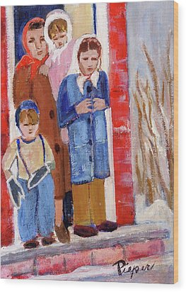 Goodbye Grandma We Have To Go To California Now Wood Print by Elzbieta Zemaitis