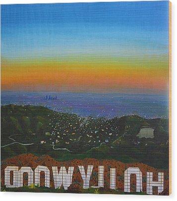 Goodnight Hollywood Wood Print by Jennifer Lynch