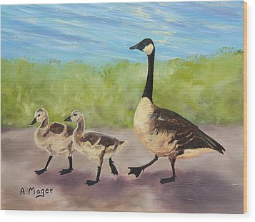 Goose Step Wood Print by Alan Mager