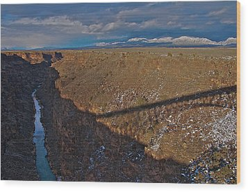 Wood Print featuring the photograph Gorge Bridge Shadow by Britt Runyon