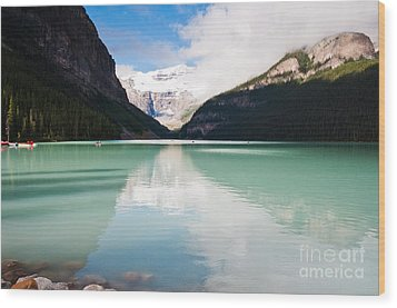 Gorgeous Lake Louise Wood Print by Cheryl Baxter