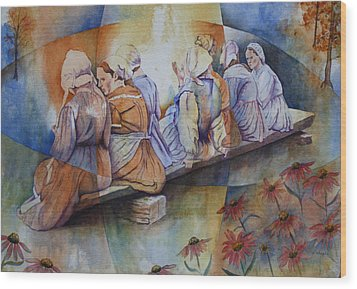 Wood Print featuring the painting Gossip Bench by Patsy Sharpe