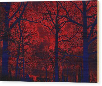 Gothic Red And Blue Surreal Fantasy Trees Wood Print by Kathy Fornal