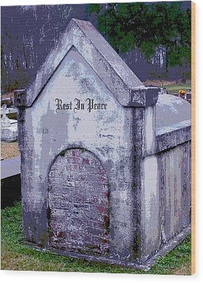 Gothic Rest In Peace Wood Print by Marian Hebert