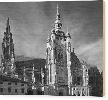 Gothic Saint Vitus Cathedral In Prague Wood Print by Christine Till