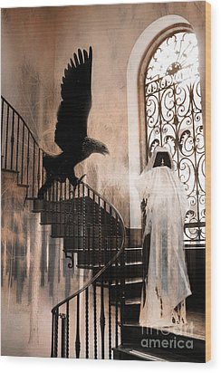 Gothic Surreal Grim Reaper With Large Eagle Wood Print by Kathy Fornal