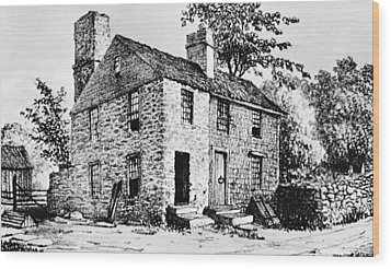 Governor Caleb Carr House. A House Wood Print by Everett
