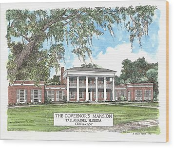 Governors Mansion Tallahassee Florida Wood Print