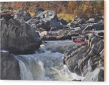 Grace Under Pressure On The Potomac River At Great Falls Park Wood Print