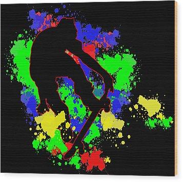 Graffiti Paint Splotches Skateboarder Wood Print by Elaine Plesser