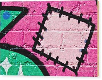 Graffiti Patch Closeup Wood Print
