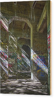 Wood Print featuring the photograph Graffiti Underground by Vicki DeVico