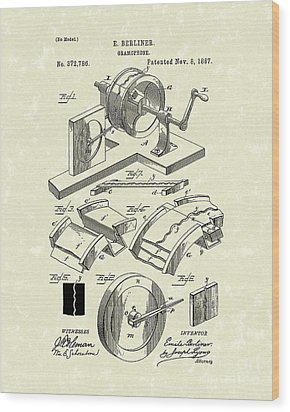 Gramophone 1887 Patent Art Wood Print by Prior Art Design