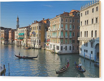 Grand Canal From Rialto Bridge, Venice Wood Print by Chris Hepburn